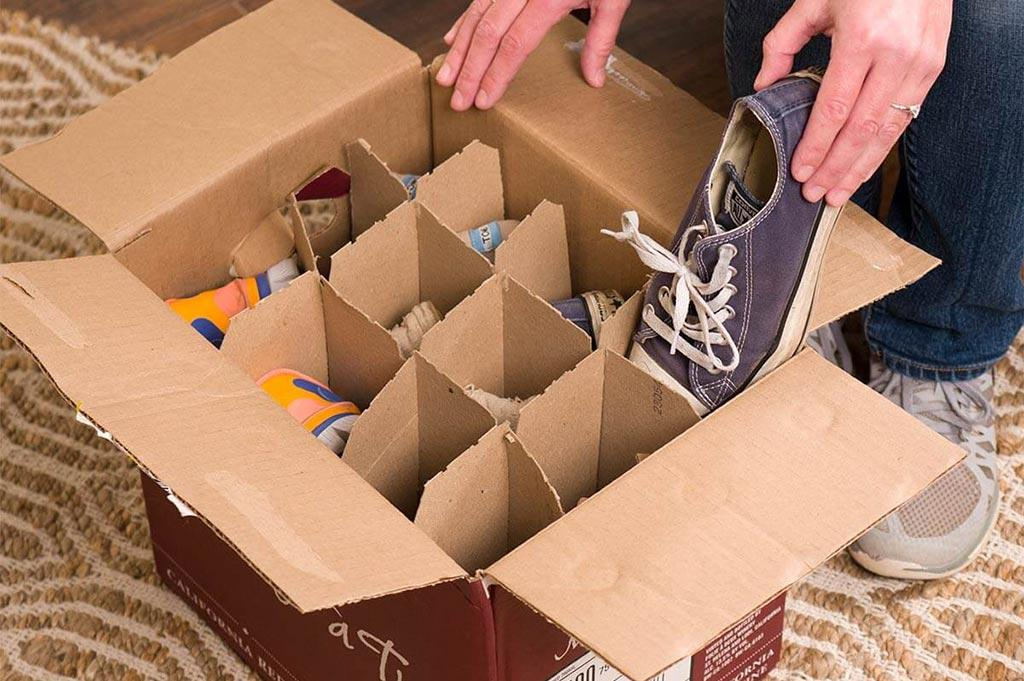 cardboard box shoe storage